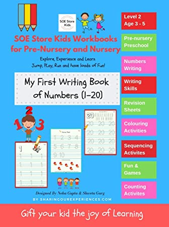 SOE store Kids Numbers (1-20) writing activity book for kids.Counting  activity + 36 pages of writing and review sheets ( Preschool Worksheets for  kids ...