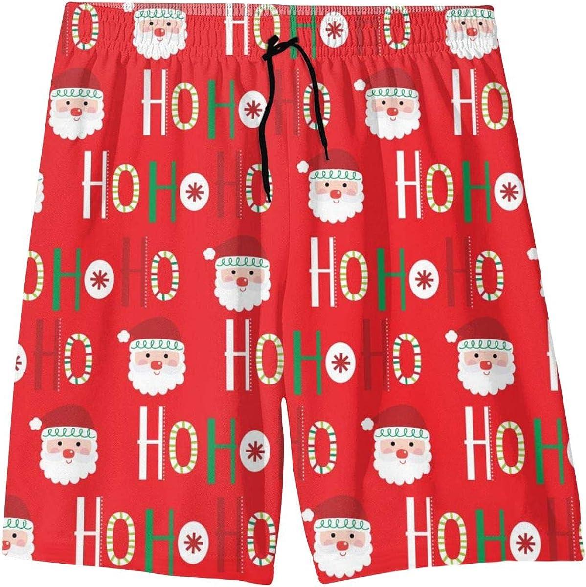 Teenager Swim Trunks Ho-ho-ho Script Cute Santa Face Beach Pants Quick Dry Board Shorts Bathing Suit for Boys Girls
