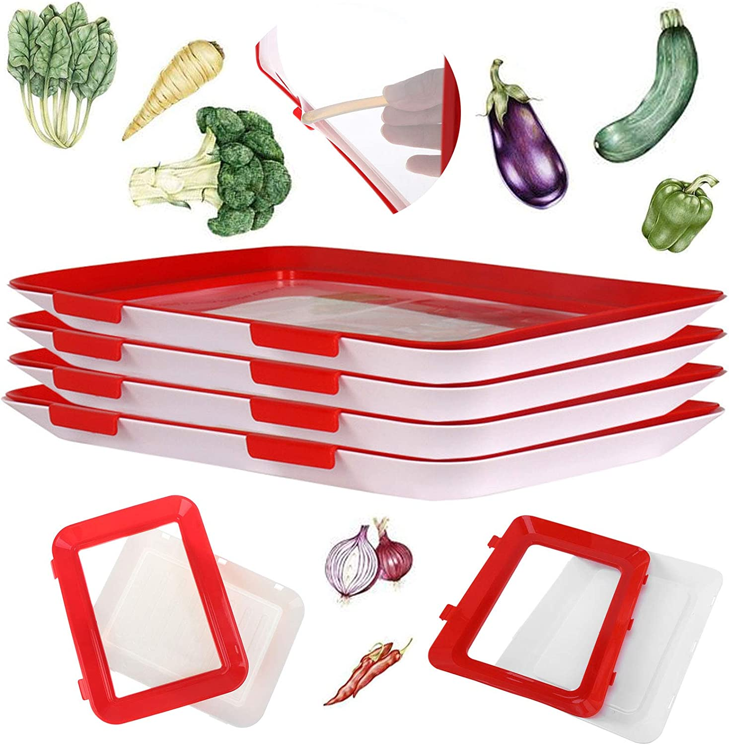 HHK Food Plastic Preservation Tray,Stackable Food Tray Reusable Creative Food Preservation Tray for Food Preservation ,Freezer Containers Food Storage Tray with Lid. (Red & white 4 Pack)