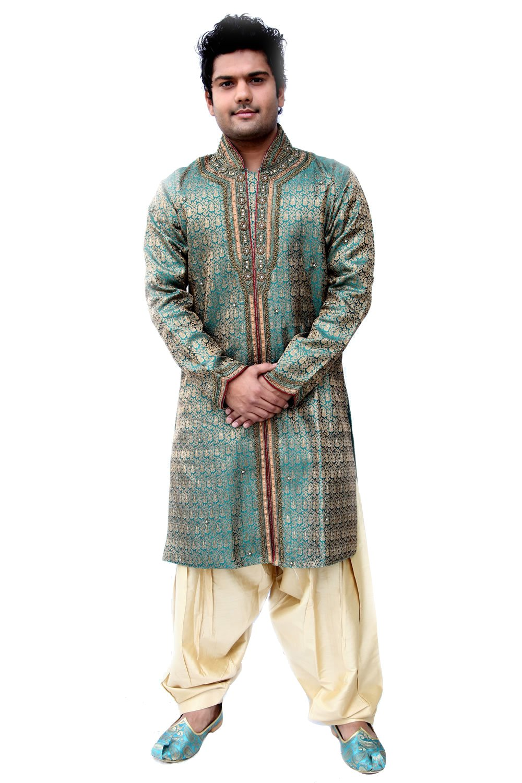 Saris and Things Turqoise Blue Silk Brocade Semi Sherwani for Men