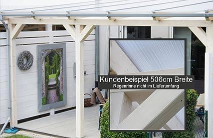 SolidBASIC 600 x 350 cm BxT Cubierta de madera laminada para terraza + placas alveolares + accesorios – sin tratar/natural – techo de madera para el techo del patio, patio, jardín, jardín