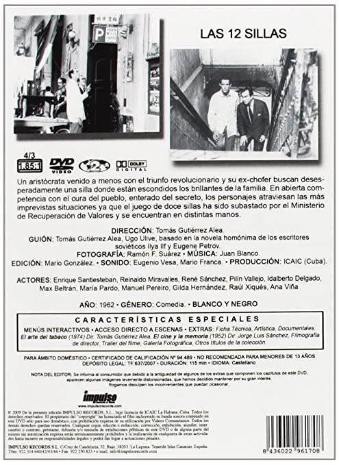 Las doce sillas [DVD]: Amazon.es: Enrique Santiesteban, Reynaldo ...