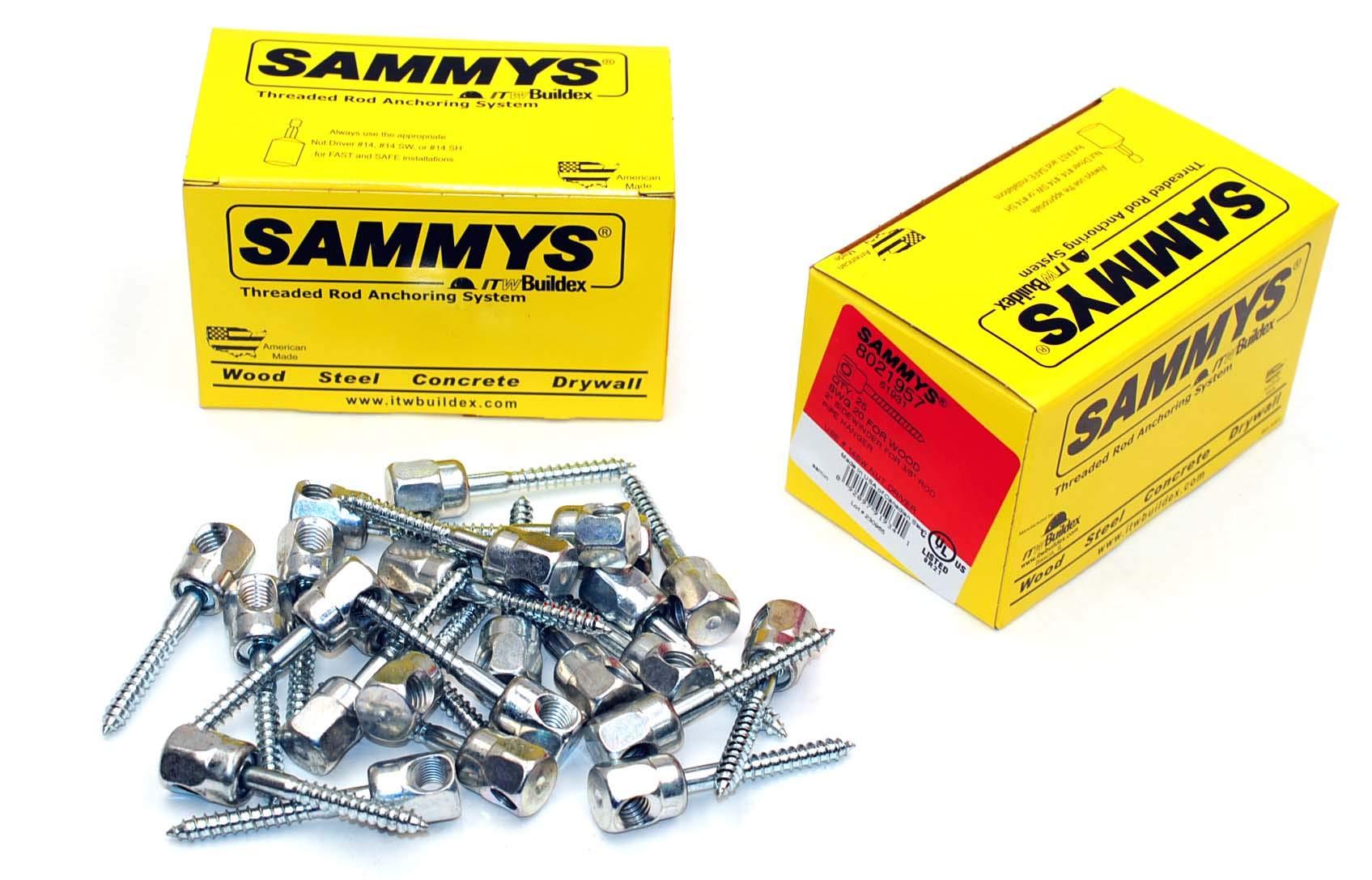 (25) Sammys 3/8-16 x 2 Sidewinder Threaded Rod Hanger for Wood 8021957 by Lexar Industrial