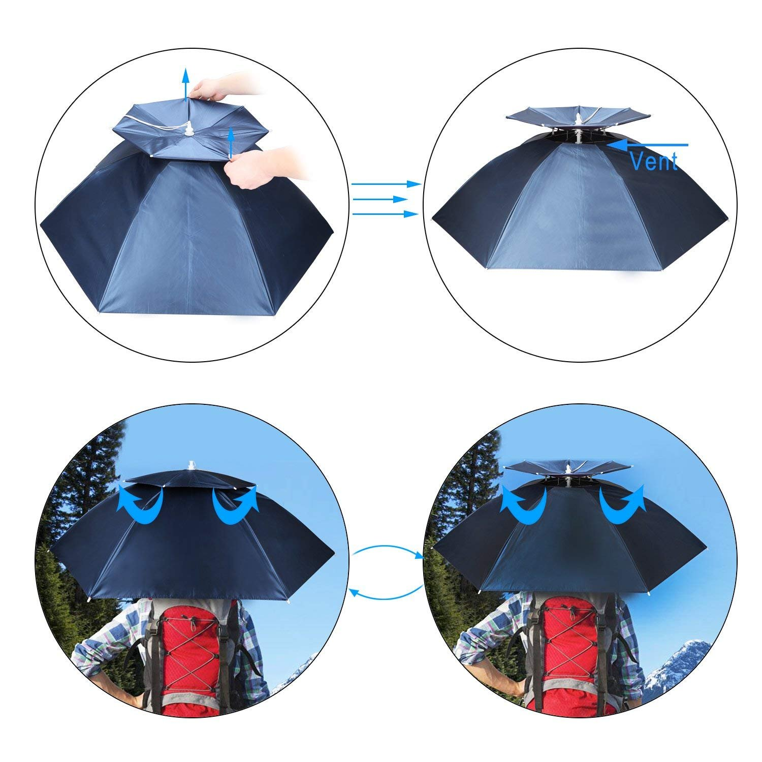 069655e82a049 Amazon.com   Luwint 36   Diameter Double Layer Folding Compact UV Wind  Protection Umbrella Hat (Blue)   Sports   Outdoors