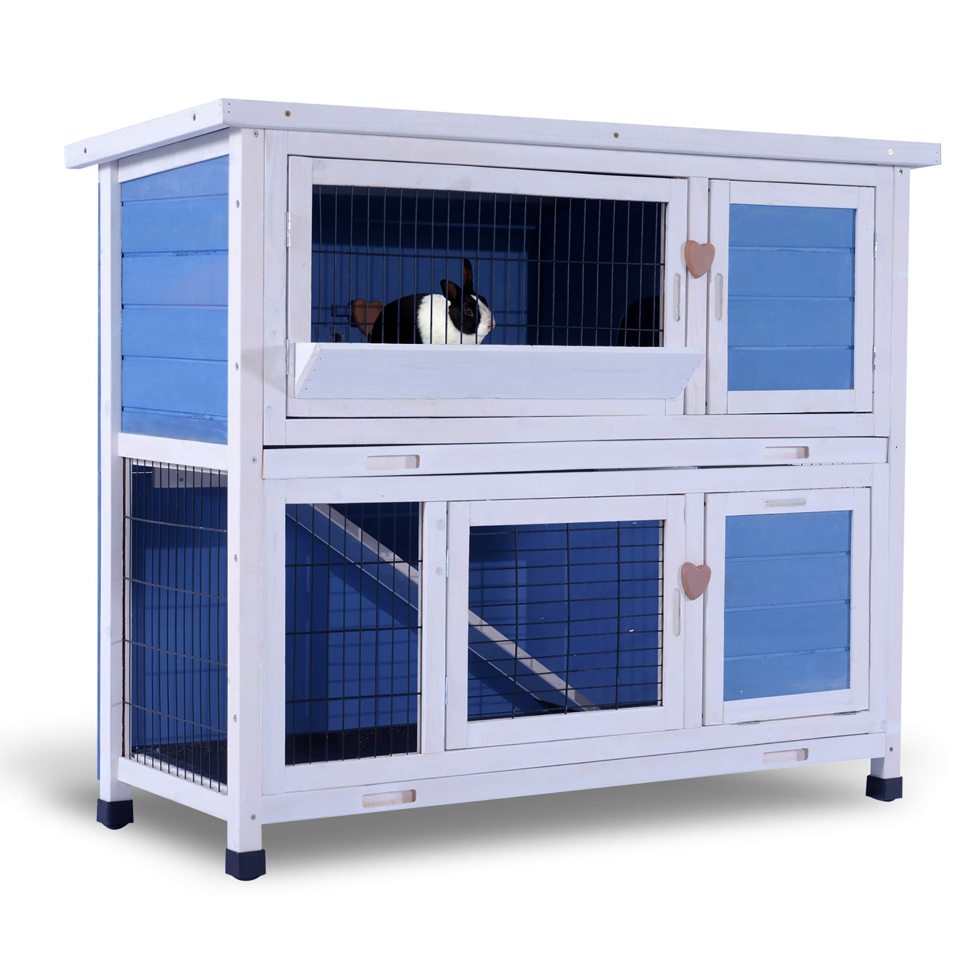Lovupet 40'' Wooden Rabbit Hutch Small Animal House Pet Cage Chicken Coop 0323L (Blue)