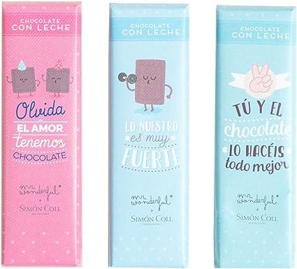 Pack de Tres Chocolatinas Mr. Wonderful Amistad: Amazon.es: Oficina y papelería