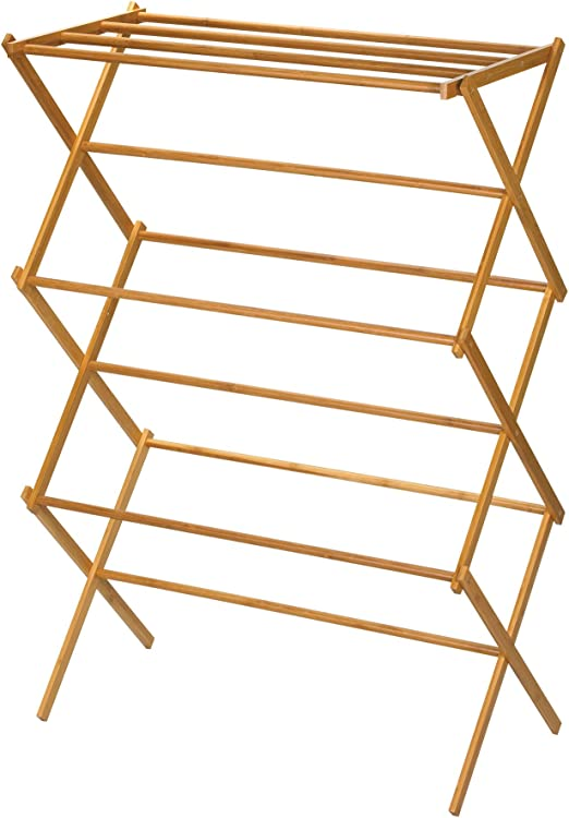 Clothes Drying Rack Laundry Folding Wood Hanger Dryer Indoor Foldable Household