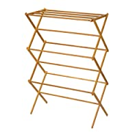 Household Essentials 6524 Tall Indoor Folding Wooden Clothes Drying Rack   Dry Laundry and Hang Clothes   Bamboo
