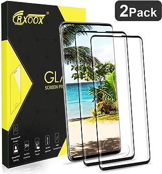 CRXOOX 2 Pack Protector de Pantalla para para Samsung Galaxy S10 Plus Vidrio Templado 9H Dureza Sin Burbujas Alta Definicion Fácil de Instalar Cristal Templado para Samsung Galaxy S10+ Negro: Amazon.es: Electrónica