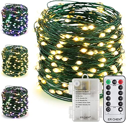 ER CHEN Color Changing Battery Operated Fairy String Lights with Remote Timer, 66Ft 200 LED 8 Modes Green Copper Wire Christmas Lights for Bedroom, Patio, Garden, Yard Warm White Multicolor