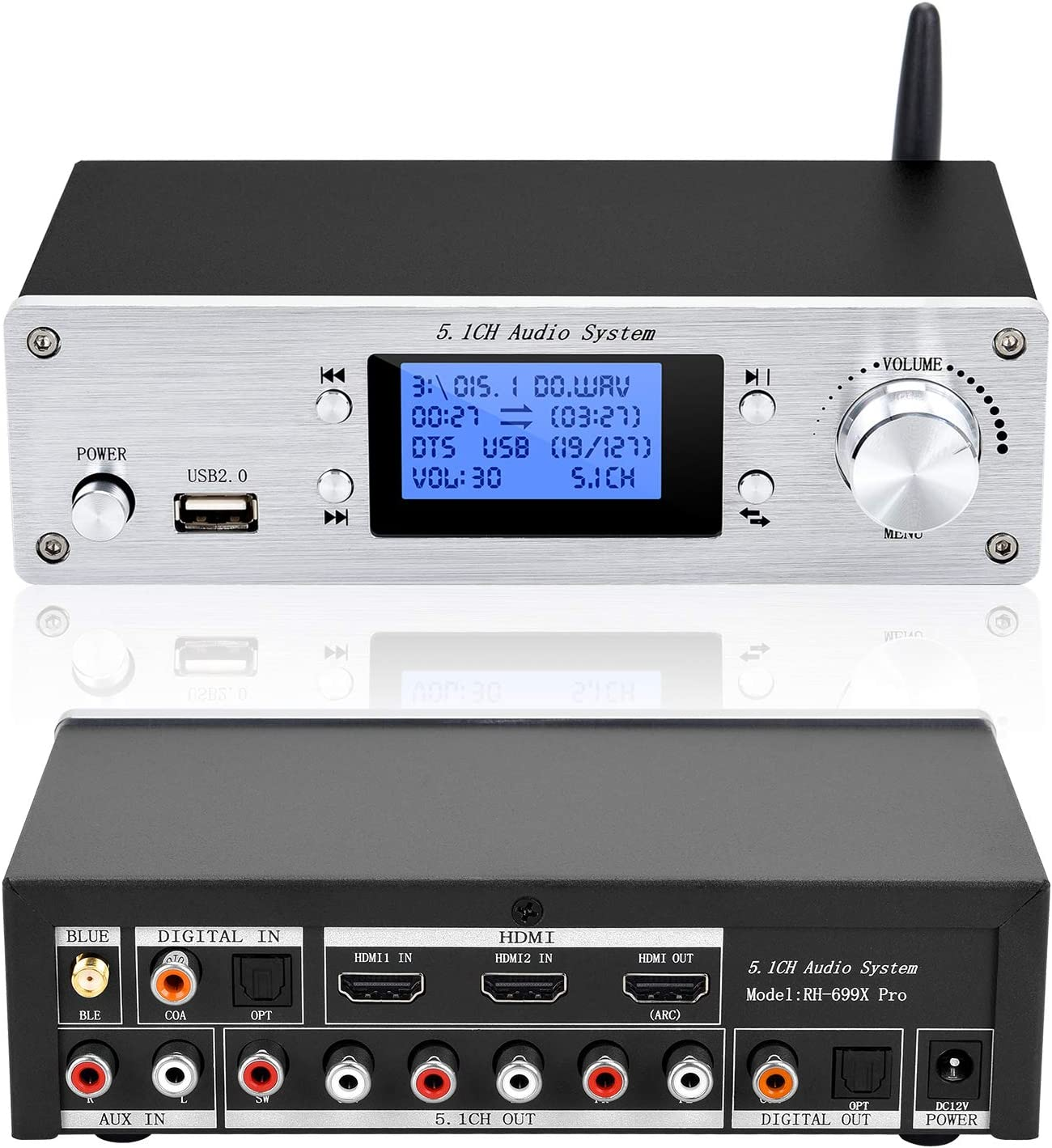 5.1ch Surround Audio and Video System,Lossless Player Converter Decoder for AC-3 DTS HDMI 4K ARC Ultra HD Digital Analog 24bit/192KHz with BT-5.0 Receiver Optical Coaxial USB AUX PC U Disk (Silver)
