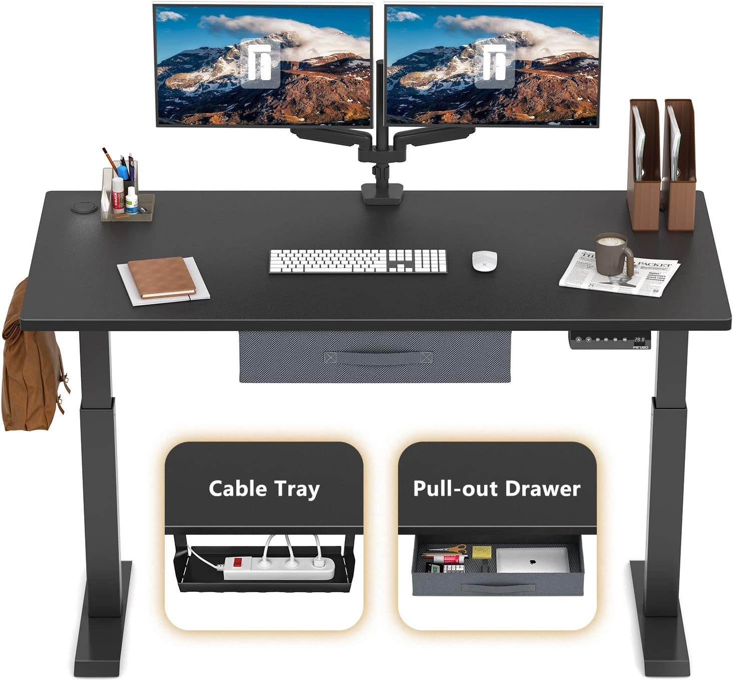 FEZIBO Electric Height Adjustable Standing Desk, 48 x 24 Inches, Black Frame/Jet Black Top