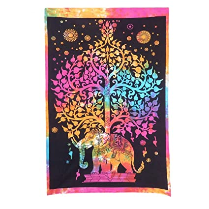 1f7d4fcbcb88 Jaipur Arts 100% Cotton Tie Dye Multicolour Elephant Poster  Amazon.in   Home   Kitchen