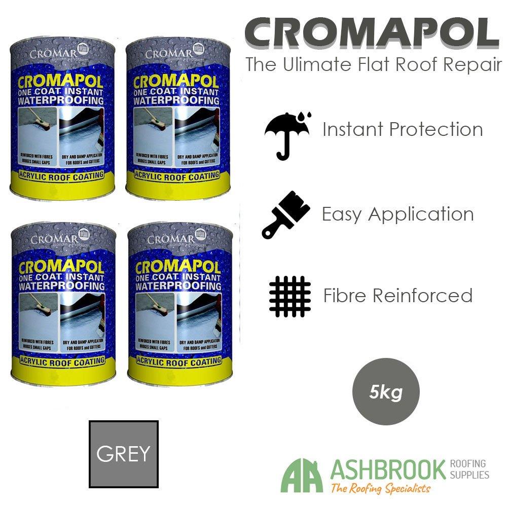 Cromapol | Acrylic Roof Coat | Fibre Reinforced | Roof Paint | Roof Sealant | Grey | 4 x 5kg Cromar