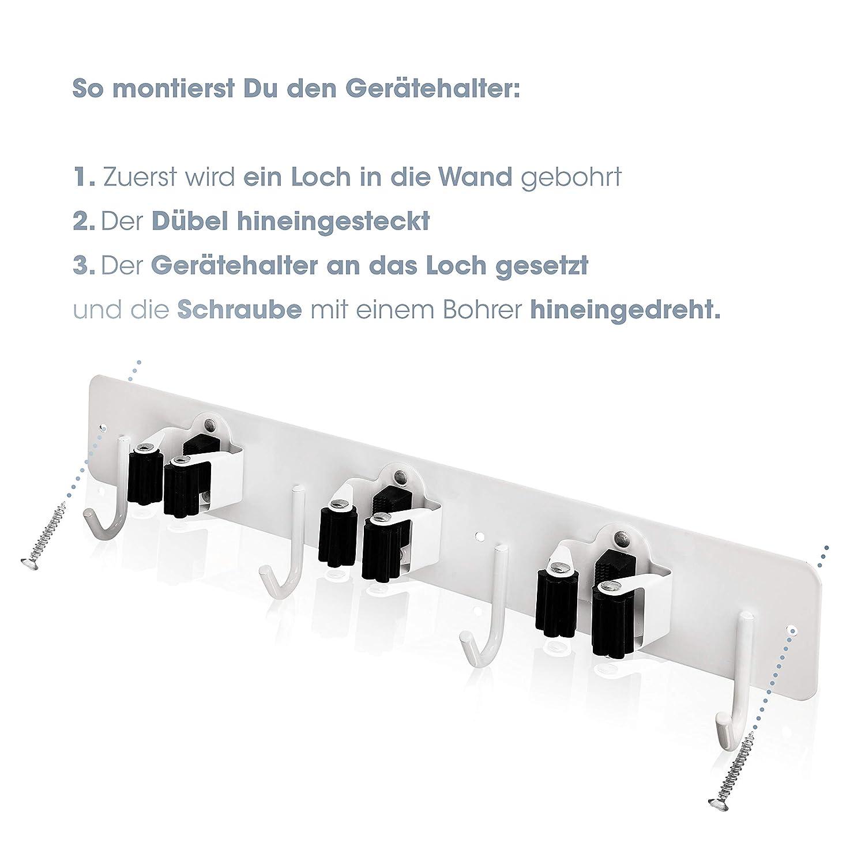 Edelstahl Ger/ätehalter 2 St/ück Besenhalterung f/ür die Wand 3 Halter und 4 Haken Leichte Montage und leichte Aufh/ängung von Gartenger/äte Besenhalter