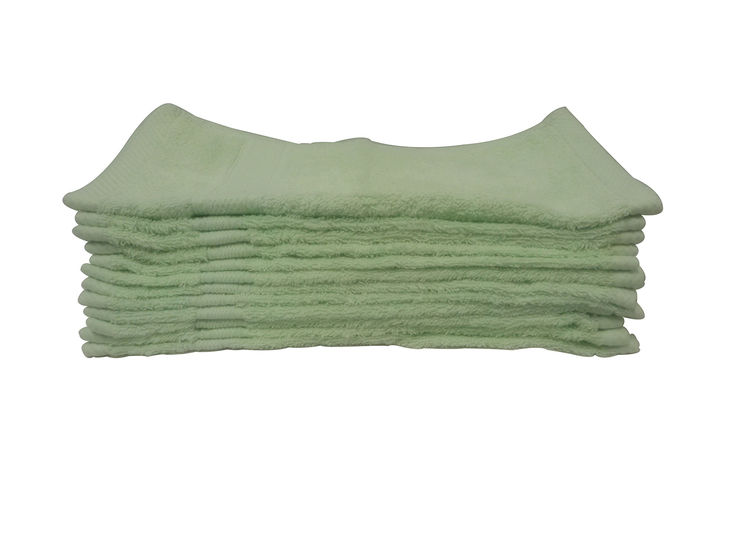 Livingston Home Luxurious Ultra Soft 100Percent Genuine Cotton 13''X13'' Wash Cloth -Highly Absorbent Multi-Purpose Extra Soft Baby, Face, Hand, Gym Spa Towels.Aqua/Mint,12Pcs-Pack
