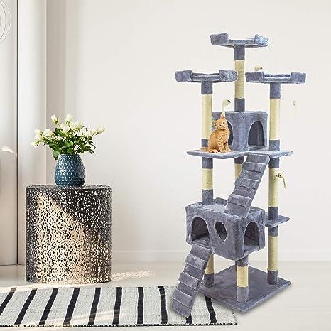 AQPET - Rascador de 170 cm con cama para gatos, árbol con tronco y parque