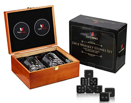 Whiskey Stones Gift Set-Dice Engraved Whiskey Stones-10oz Scotch Glasses-Best Gifts for Men-Whiskey stones with Glass Set for Man Cave Accessories -Scotch Whiskey Chills Perfectly with Cool Dice Rocks