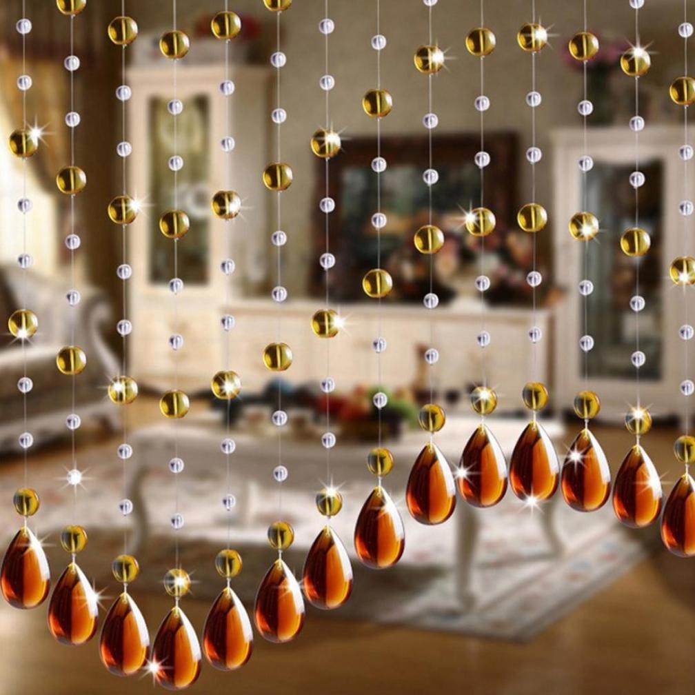 Wanshop® - Tenda di lusso con perline di cristallo, 2 m, per soggiorno, per la finestra o la porta della camera da letto o come decorazione nuziale Brown