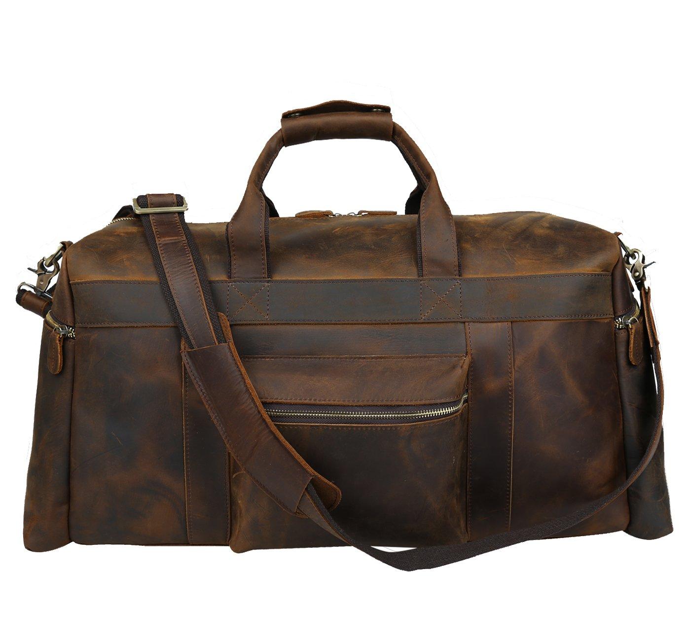 Polare 25'' Duffle Genuine Leather Weekender Travel Duffel luggage Bag