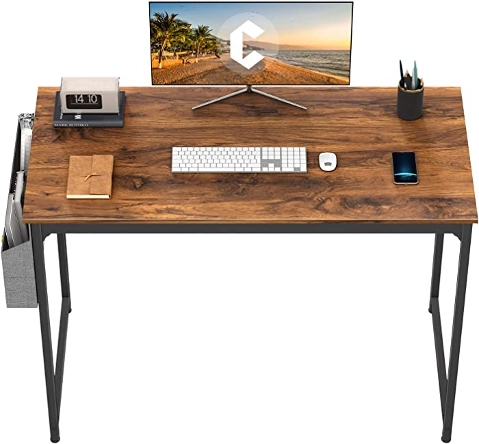 "CubiCubi Computer Desk 40"" Study Writing Table for Home Office, Modern Simple Style PC Desk, Black Metal Frame, Dark Rustic"