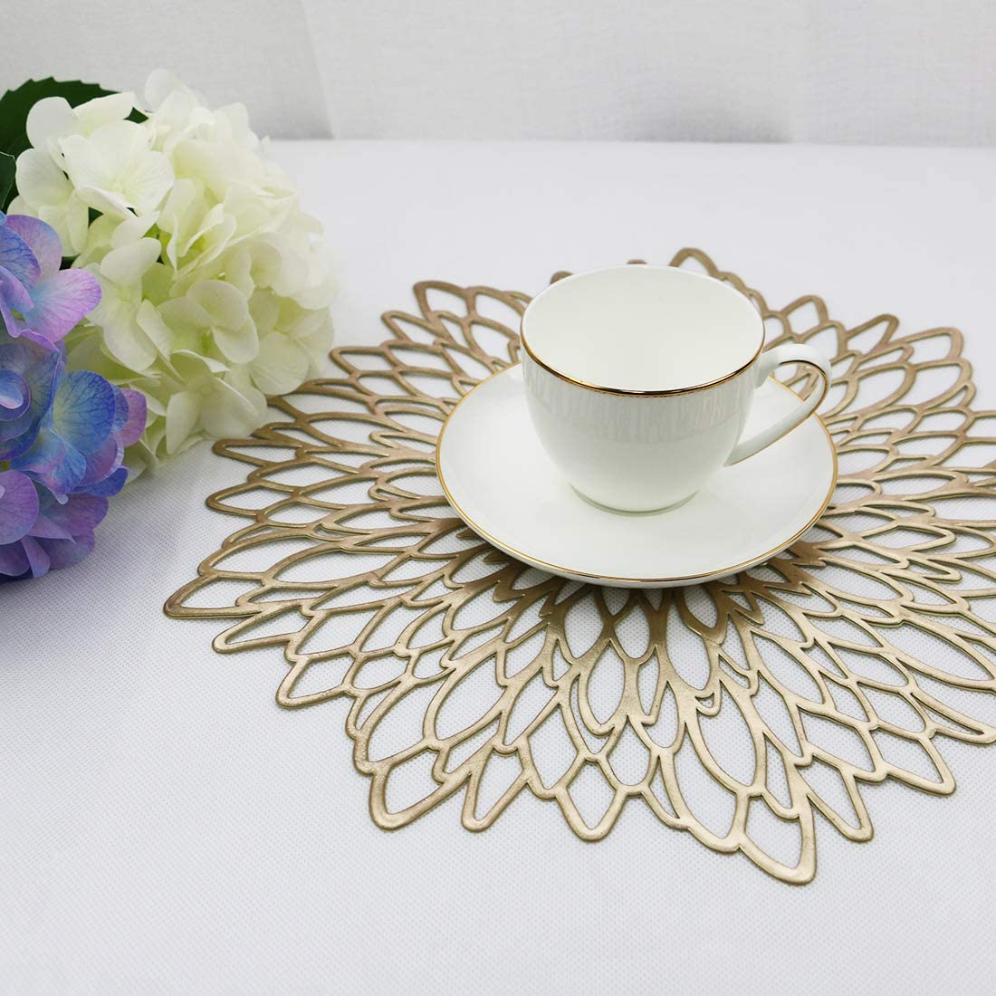 Home Kitchen Decoration Washable Dining Table Coffee Mats Olrla Round Gold PlaceMats Set of 4 Bauhinia Golden,4 PVC Durable Waterproof Non-slip Heat-resistant for Restaurant,Cafe