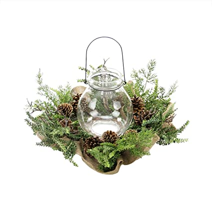 allstate decorative burlap pine cone twig and pine artificial christmas pillar candle ring 20 - Decorative Christmas Candle Rings