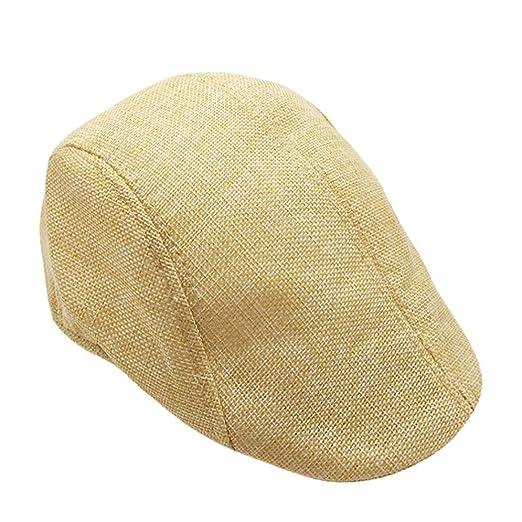 Unisex Vintage Flat Hat Ivy Irish Hats Gatsby Newsboy Cap Cabbie Hat  Stretch (Beige) 24fa67215af