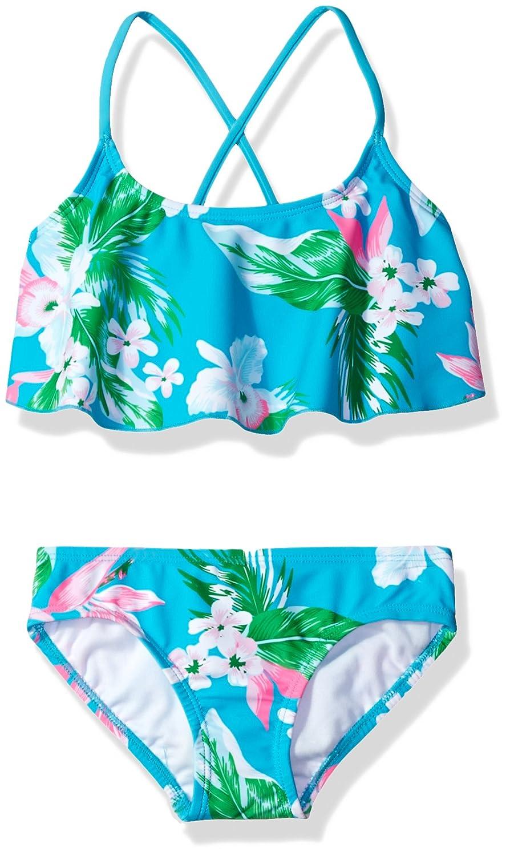 Kanu Surf Girls' Alania Floral Flounce Bikini Beach Sport 2-Piece Swimsuit