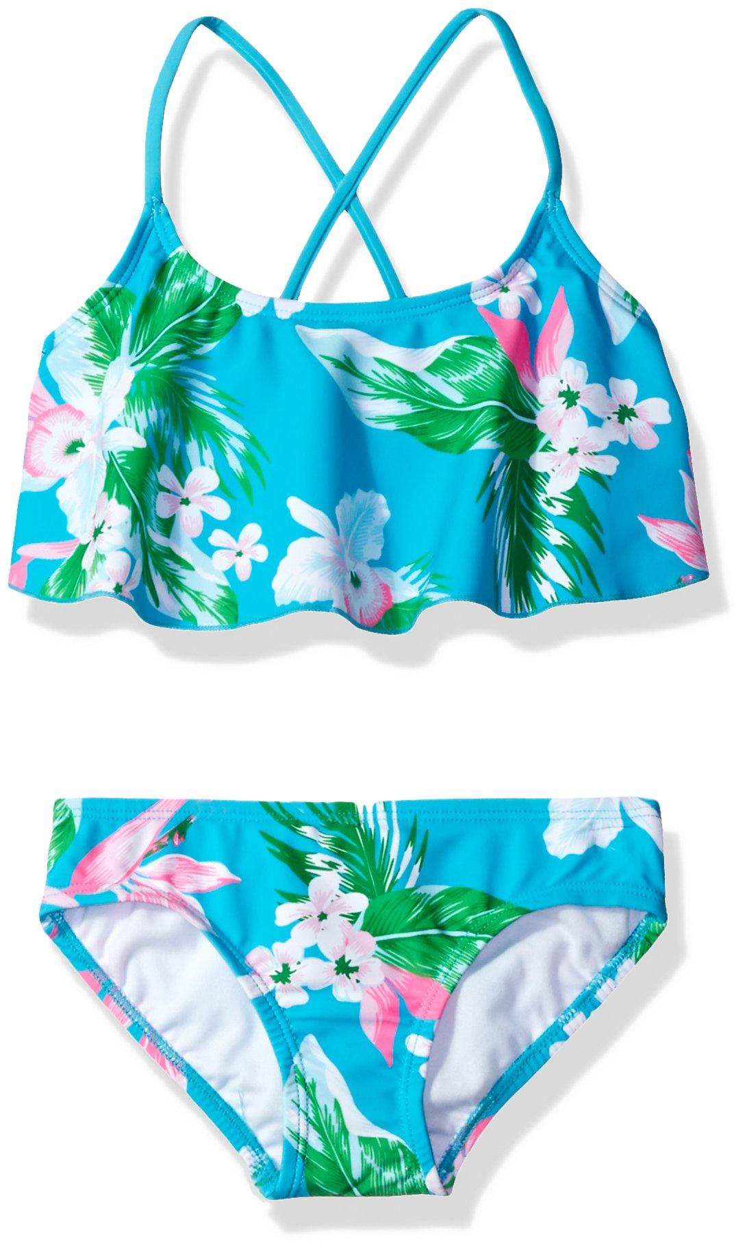 Kanu Surf Big Girls' Alania Floral Flounce Bikini Beach Sport 2-Piece Swimsuit, Aqua, 10