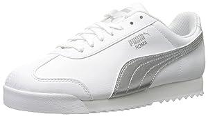 PUMA Women's Roma L Metallic Sneaker, White Puma Silver, 7 B US