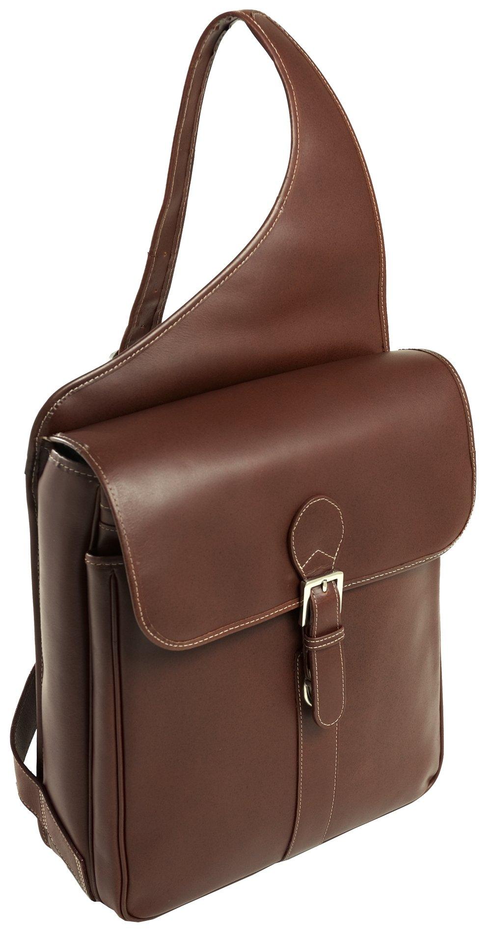 Siamod SABOTINO 25414 Cognac Leather Vertical Messenger Bag