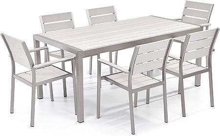 Set Tavolo Sedie Legno Giardino.Set Di Tavolo E Sedie Da Giardino In Alluminio E Legno Sintetico