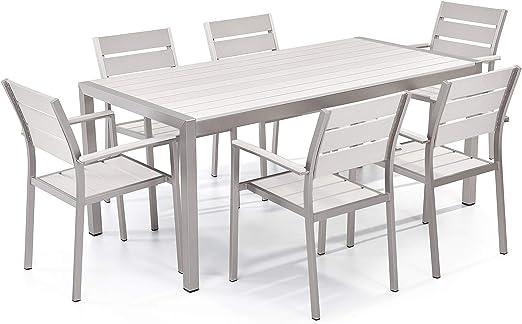 Conjunto de jardín en aluminio - Mesa 180 cm - 6 sillas - Blanco - VERNIO: Beliani: Amazon.es: Hogar