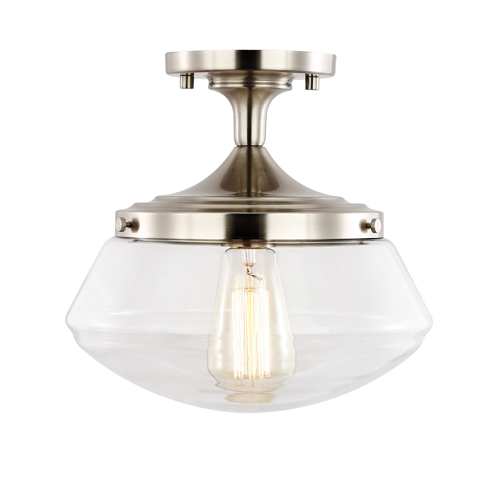 Light Society Crenshaw Flush Mount Ceiling Light, Satin Nickel with Clear Glass Shade, Vintage Industrial Modern Lighting Fixture (LS-C246-SN)