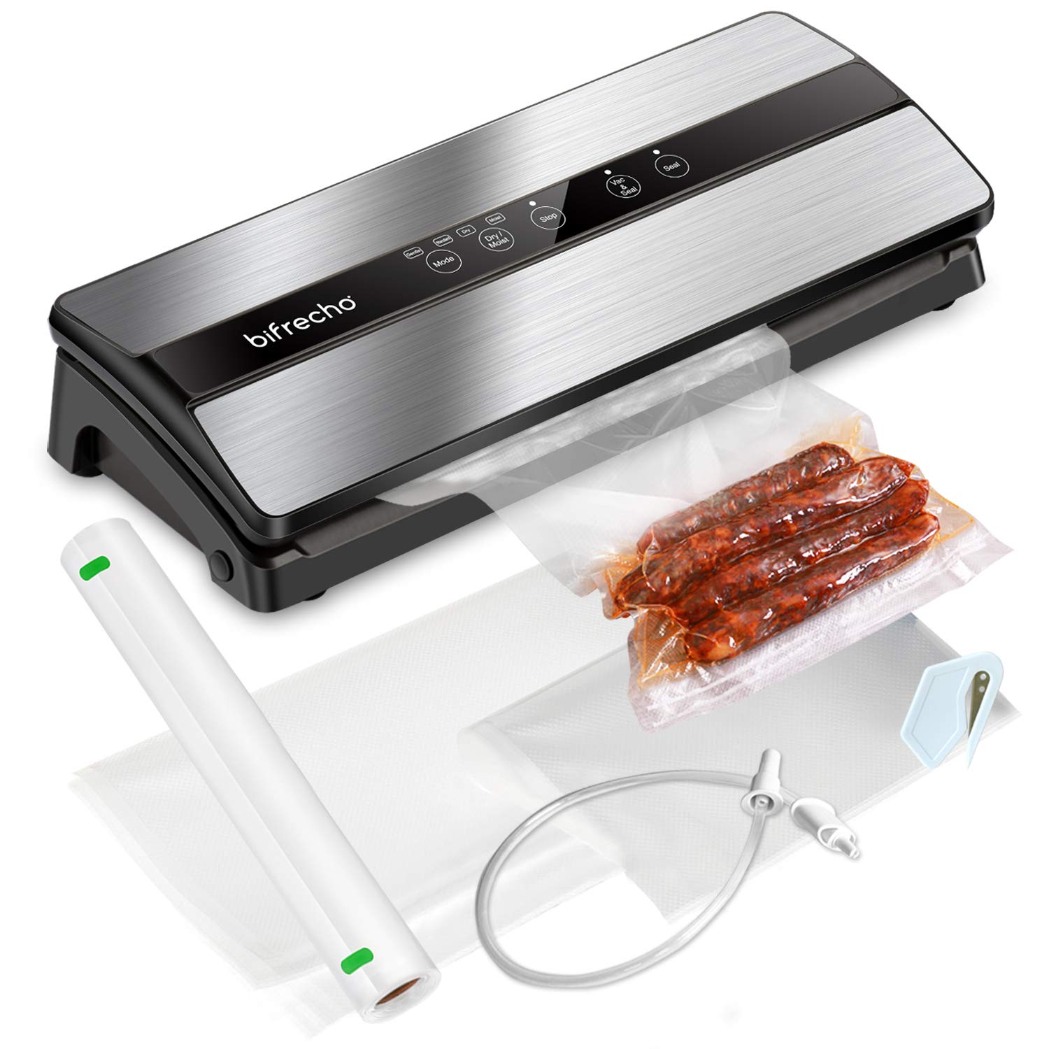 Vacuum Sealer Machine with Starter Kit, Bifrecho Compact Food Saver Vacuum Sealing System, Including Bags and Roll for Food Preservation, Dry Moist Modes, Led Indicator Light, Easy to Clean, Safety Certified by bifrecho