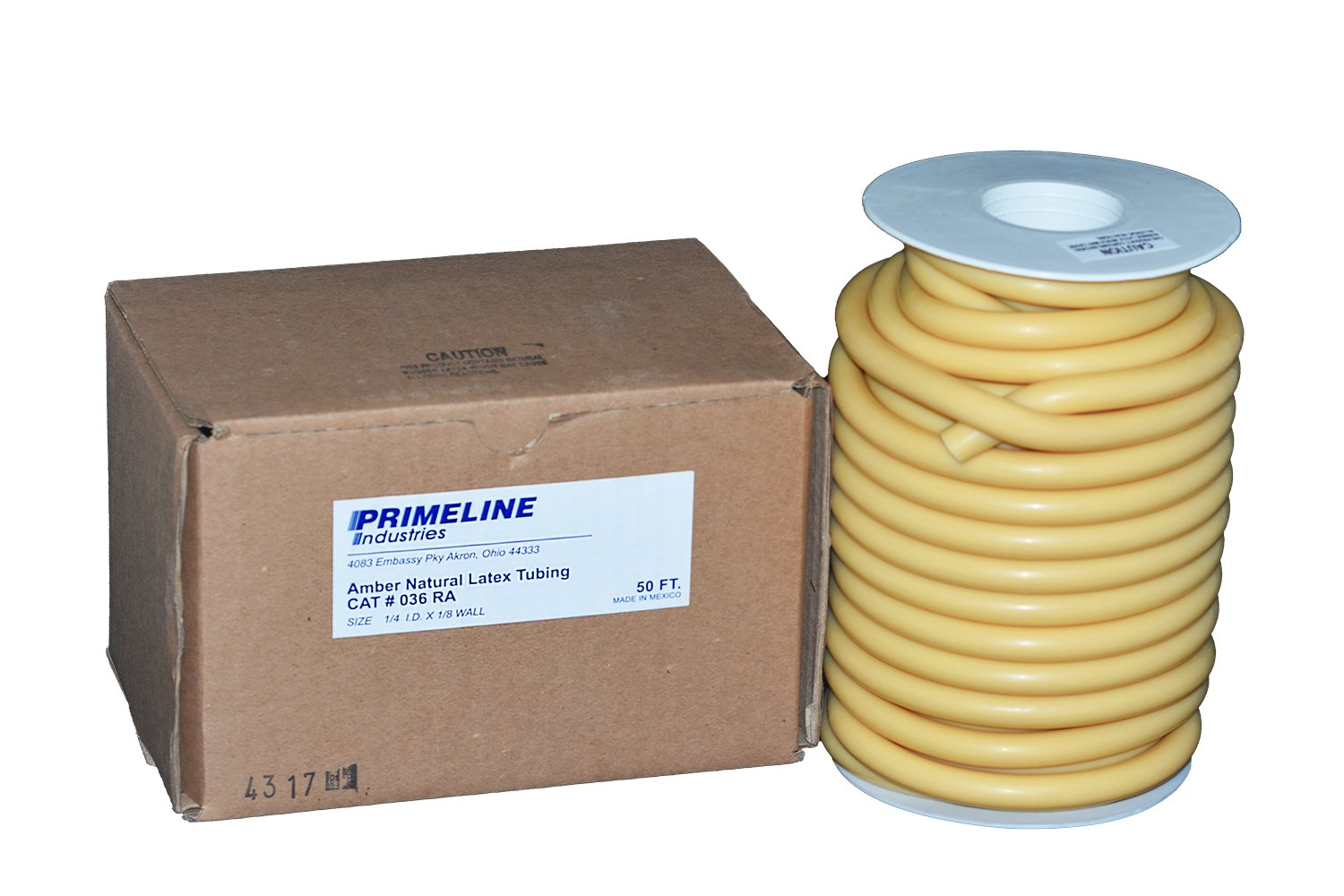 Natural Rubber Latex Tubing - 1/4'' ID x 1/8'' Wall Amber - 50 Foot Reel by Prime Line