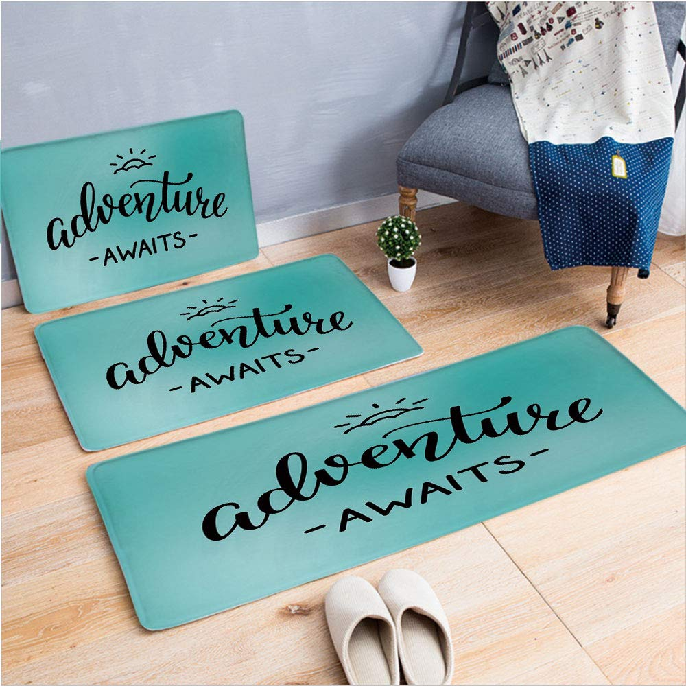 "3 Piece Non-Slip Doormat 3d print for Door mat living room kitchen absorbent kitchen mat,Lettering on a Vivid Abstract Pale Blue Backdrop,15.7""x23.6""by19.7""x31.5""by15.7""x39.4"",coffee table carpet wind"