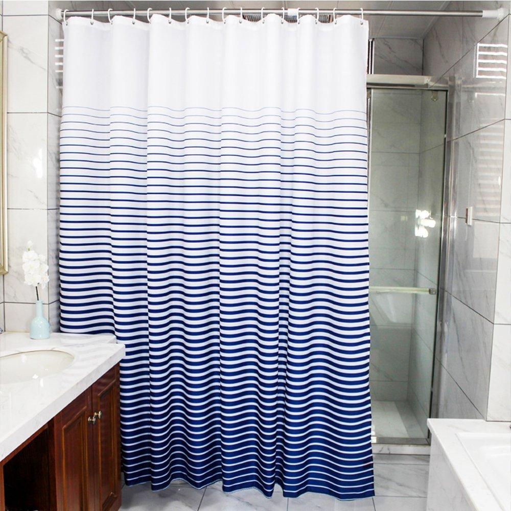 Amazon.com: wendana Shower Curtain Fabric Striped Navy and White ...
