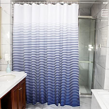 Stripes Shower Curtain Fabric Blue And White Weighted Curtains Waterproof Decorative For Bathrooms Extra Long