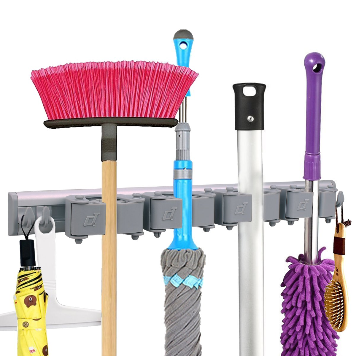 Mop Broom Holder Wall Mounted Hooks, Free Combination Rubber Grip Pole Holder, Garden Tool Rack, Storage Organization Hangers, Kitchen Hanging Garage Utility Tool (with 4 Sliding Grippers and 4 Hooks)