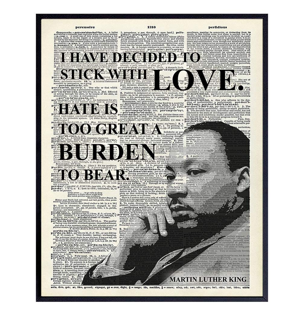 Inspirational Martin Luther King, MLK, Quote Dictionary Wall Art, Home Decor - Upcycled Poster Print for Office or Room Decorations - Gift for Black, African Americans, Civil Rights Fans- 8x10 Photo