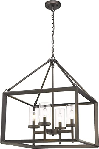 Emliviar 4-Light Lantern Pendant Light, Dining Room Chandelier Cage Hanging Light, Oil Rubbed Bronze Finish with Clear Glass Shade, 3039-4A