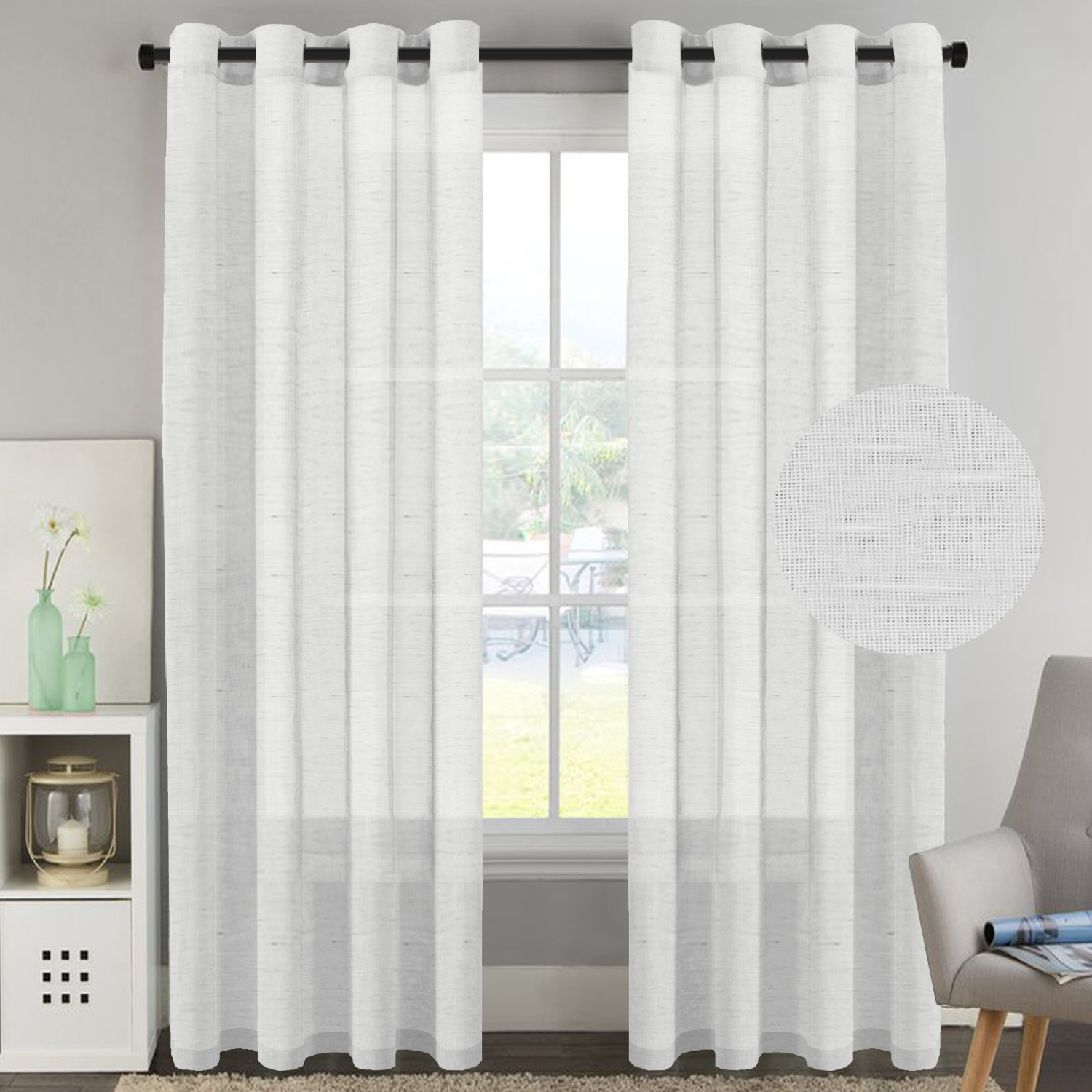 H.Versailtex Window Treaments Panels Open Weave White - Natural Linen Poly Blended Sheer Curtains