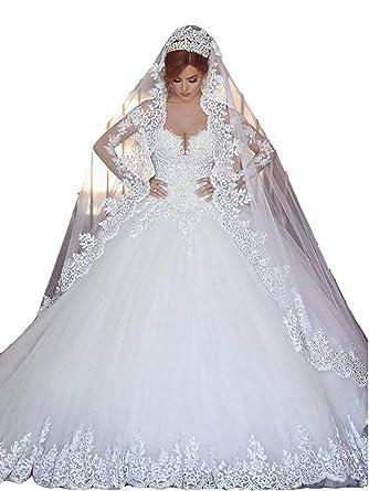 Changjie Damen SpitzeApplique Prinzessin Langarm Hochzeitskleid ...