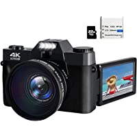 48MP 4K HD Digital Camera Vlogging Camera with 3.0 inch 180° Flip Screen WiFi Digital Camcorder for YouTube with Wide…