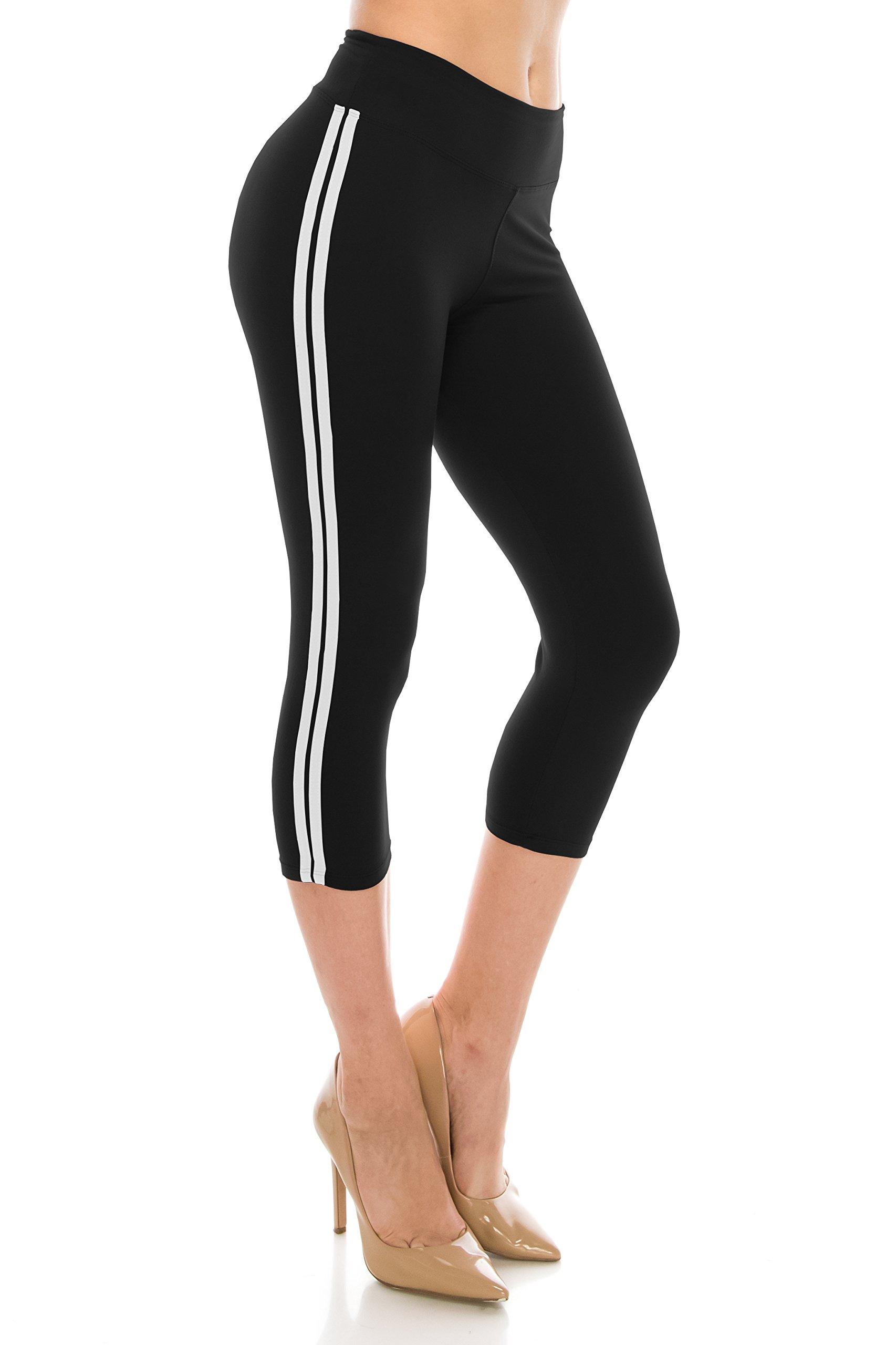ALWAYS Leggings Women Striped Capri - Basic Premium Soft Stretch Buttery Yoga Workout Black White Plus