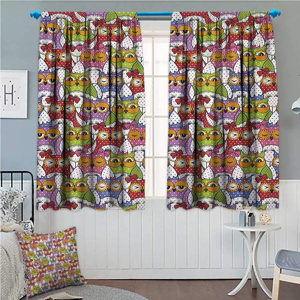 zojihouse Owl Thermal Insulating Blackout Curtain Ornate Owl Crowd with Different Sights and Polka Dots Like Matryoshka Dolls Fun Retro Theme Multi 55''x45'' by zojihouse