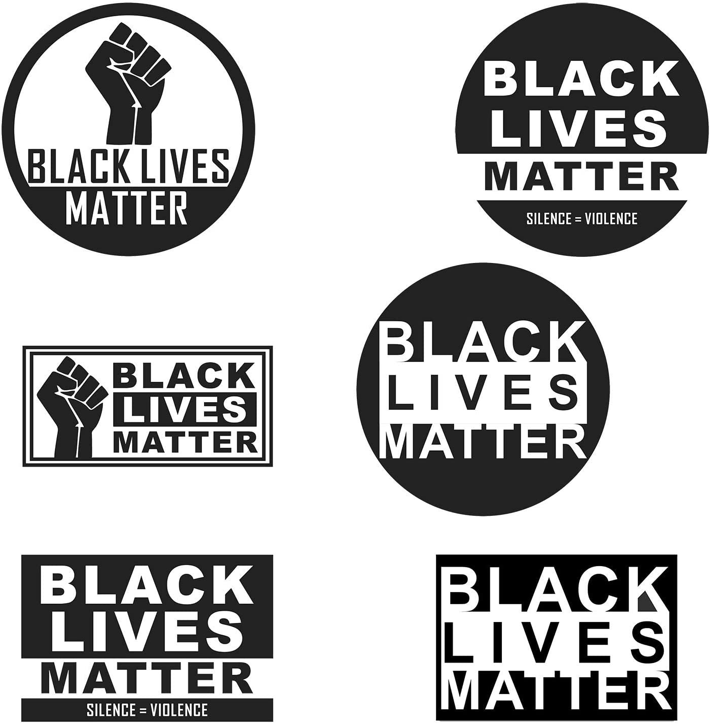 Black Lives Matter, Car Window Black Rights Defender Stickers[Big-6pcs]Office Laptop Decor Life Saying Art Waterproof Vinyl Decal for Water Bottle Glass Decoration Phone Bumper Skateboard Luggage Bike
