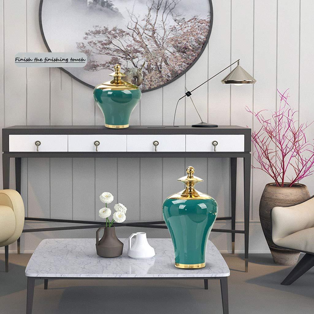 かごボックス 装飾貯蔵タンクの装飾居間の陶製の花瓶緑の花瓶ヨーロッパの装飾品花瓶花のコンテナギフト完璧な贈り物現代の家 (Color : Green, Size : 9*21.5*38cm) 9*21.5*38cm Green B07STK1CKH